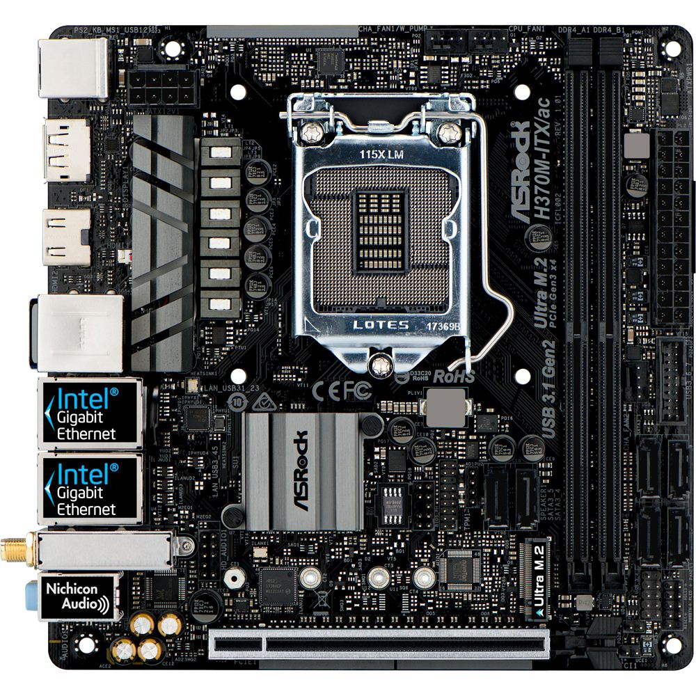 ASRock H370M-ITX/ac LGA 1151 mITX Intel - Micro Center