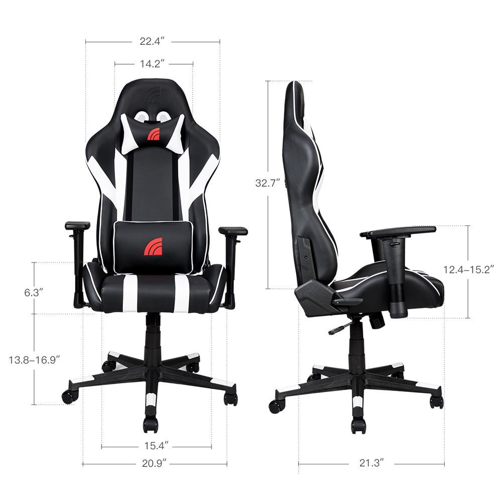 Astonishing Inland Mach Gaming Chair Black White Micro Center Andrewgaddart Wooden Chair Designs For Living Room Andrewgaddartcom
