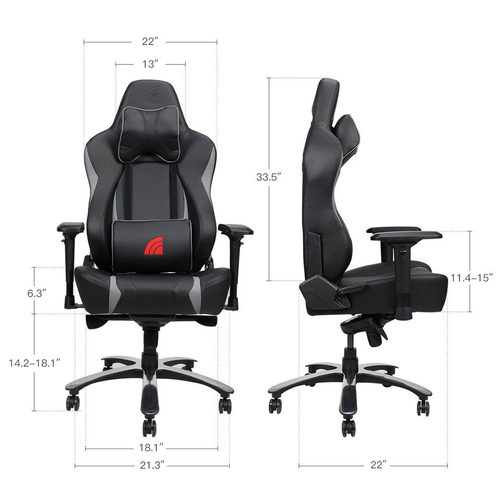 Outstanding Inland Lightning Gaming Chair Black Gray Micro Center Andrewgaddart Wooden Chair Designs For Living Room Andrewgaddartcom