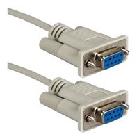 QVS DB-9 RS-232 Serial Female to DB-9 RS-232 Serial Female Adapter Cable 10 ft. - Beige