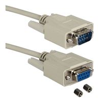 QVS DB-9 RS-232 Serial Male to DB-9 RS-232 Serial Female Adapter Cable 3 ft. - Beige