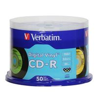 Verbatim Digital Vinyl CD 52x 80 Minute Disc 50-Pack Spindle