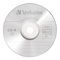 Verbatim CD-R 52x 700 GB/80 Minute Disc 100-Pack Spindle