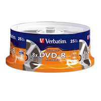 Verbatim DigitalMovie DVD-R 8x 4.7 GB/120 Minute Disc 25-Pack Spindle