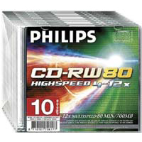 Philips CD-RW 12x 700MB/80 Minute Disc 10-Pack with Slim Jewel Case