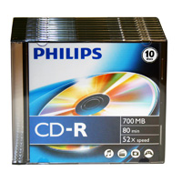 Philips CD-R 52x 700MB/80 Minute Disc 10-Pack with Slim Jewel Case