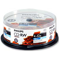 Philips CD-RW 12x 700 MB/80 Minute Disc 25-Pack Spindle