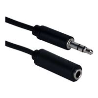 QVS 3.5mm Male to 3.5mm Female Mini-Stereo Speaker Extension Cable 25 ft. - Black