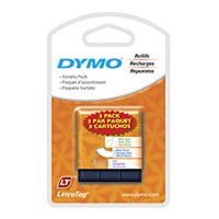 "Dymo 12331 Letratag Tape, White Paper, White Plastic, and Clear Plastic,  1/2""X13' 3-Pack"