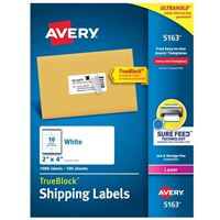 Avery 5163 Laser White Address and Shipping Labels