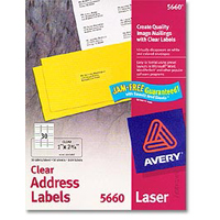 Avery 5660 Laser Clear Address and Shipping Labels