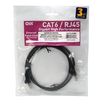 QVS 25 Ft. CAT 6 Stranded Snagless Molded Boot Ethernet Cable - Black