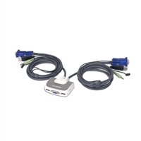 IOGear MiniView Micro USB Plus 2 Port KVM Switch with Audio and Cables
