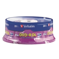 Verbatim DVD+R 8x 8.5 GB/240 Minute Disc 20-Pack Spindle