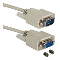 QVS DB-9 RS-232 Serial Female to DB-9 RS-232 Serial Male Adapter Cable 15 ft. - Beige