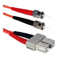QVS ST to SC Multimode Fiber Duplex Patch Cable 16.4 ft. - Orange