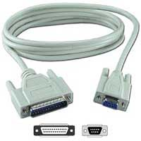 QVS DB-9 RS-232 Serial Female to DB-25 RS-232 Serial Male Adapter Cable 1 ft. - Beige