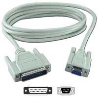QVS DB-9 RS-232 Serial Female to DB-25 RS-232 Serial Male Adapter Cable 10 ft. - Beige