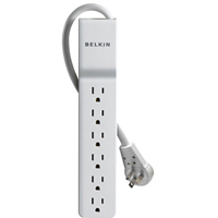 Belkin 6 Outlet SlimLine Surge Protector w/ 6 ft. Power Cord & 360 Degree Rotating Plug - White