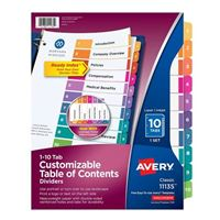 Avery Ready Index® Table of Contents Dividers 10-Tab Set