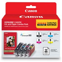 Canon PGI-5, CLI-8 Ink and Paper Combo Pack