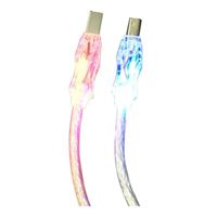 QVS USB 2.0 (Type-A) Male to USB 2.0 (Type-B) Male (2-Pack) Lighted with LEDs Premium Cables 6 ft. - Clear