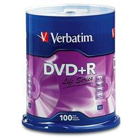 Verbatim Life Series DVD+R 16x 4.7 GB/120 Minute Inkjet Printable Disc 100-Pack Spindle