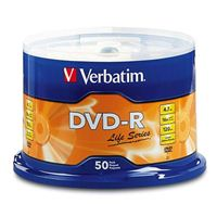 Verbatim Life Series DVD-R 16x 4.7 GB/120 Minute Disc 50-Pack Spindle