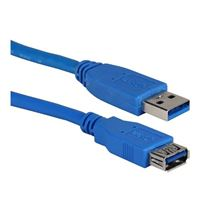 QVS USB 3.1 (Gen 1 Type-A) Male to USB 3.1 (Gen 1 Type-A) Female Cable 3ft. - Blue