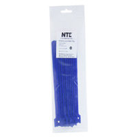 "NTE Electronics Hook and Loop Cable Ties 10"" Blue 10 pack"