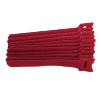 "NTE Electronics Hook and Loop Cable Ties 6"" Red 10 pack"