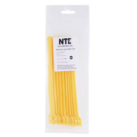 "NTE Electronics Hook and Loop Cable Ties 8"" Yellow 10 pack"