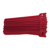 "NTE Electronics Hook and Loop Cable Ties 8"" Red 10 pack"