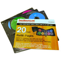 TekNMotion CD/DVD 20 Page Binder Refill Pages 160 Capacity
