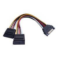 QVS 15-Pin Male to 2x 15-Pin Female Dual SATA Internal Y Power Cable 6 in.