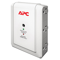 APC 6 Outlet Wall Surge Protector 1080 Joules with Phone/Fax Protection - White