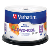 Verbatim DVD+R DL 8x 8.5 GB/240 Minute Inkjet Printable Disc 50-Pack Spindle