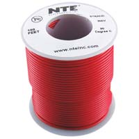 NTE Electronics WH24-02-100 Hook Up Wire, Stranded, Type 24 Gauge, 100' Length, Red