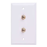Just Hook It Up Dual Coax Video Wall Plate - White