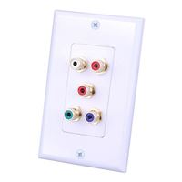 Just Hook It Up Component Video and Dual RCA Stereo Audio Wall Plate - White