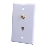 Just Hook It Up Combination Phone/Coax Wall Plate - White