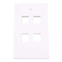 Just Hook It Up 4-Port Multi-Media Keystone Wall Plate - White