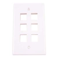 Just Hook It Up 6-Port Multi-Media Keystone Wall Plate - White