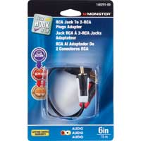 "Just Hook It Up 6"" RCA Female to 2 RCA Male Adapter"