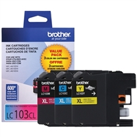 Brother LC1033PKS Tri-Color Inkjet Cartridge 3-Pack
