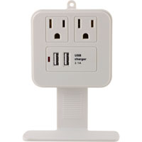 GE 2 Outlet Wall Surge Protector 245 Joules w/ 2 USB (2.1A) Charging Ports - White