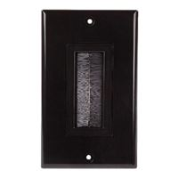 Just Hook It Up Decor Style Brush Bulk Cable Wall Plate Single Gang - Black