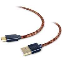 Tough Tested TT-FC6-MICRO 6-Feet Durable Braided USB Cable for Micro USB Equipped Devices - Retail Packaging - Black/Orange