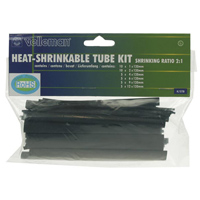 "Velleman Heat Shrink Tubing Multiple Diameters Thin Wall 5"" Length 40 pcs- Black"