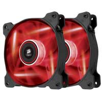 Corsair Air AF120 Quiet Edition Red LED Sleeve Bearing 120mm Case Fan - Twin Pack